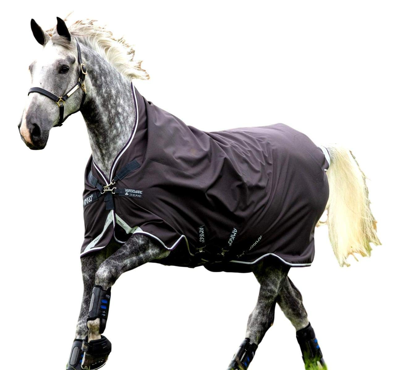 Horseware Amigo Bravo 12 Wug Turnout Sheet Lite - Excalibur/Plum/White/Silver, 81 by Horseware