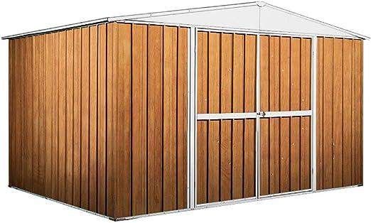 Einaudi - Casita de jardín de chapa y madera para guardar herramientas, 360 x 260 x 212 cm: Amazon.es: Jardín