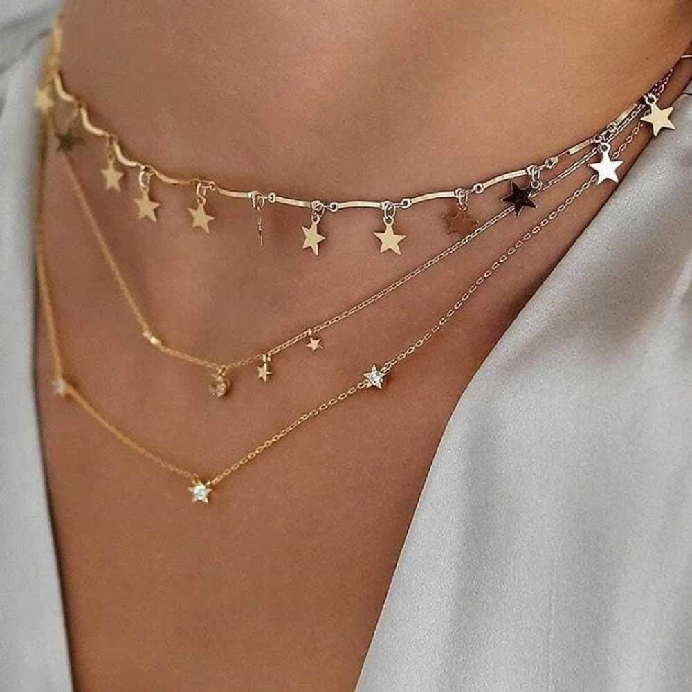 Jovono Fashion Star Gargantilla Multi – Collar de capa para cumpleaños amistad joyas regalo día de la madre (oro)