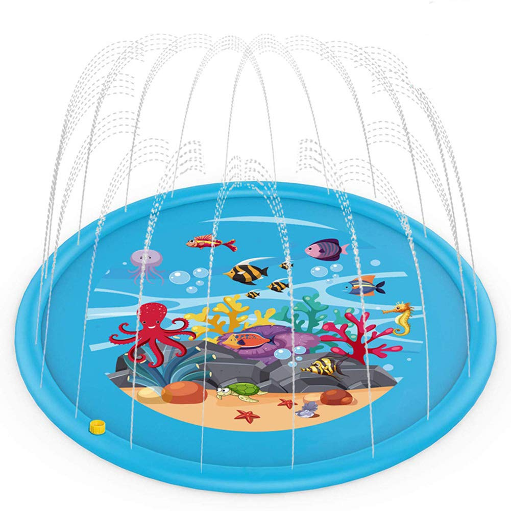 FLH Kids Outdoor Water Spray Pad, Swimming Pool 68 Inches Suitable for Boys and Girls Summer Water Toy Sprinkler Spray Game Pad, Suitable for Children's Parties, Gardens, Kids Gifts.