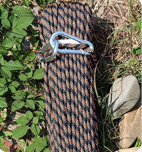 ロープ、屋外の上昇の補助ロープ、8mm の静的なロープの低い伸張の登山ロープポリエステルは耐久のロープを作った,Black,20m
