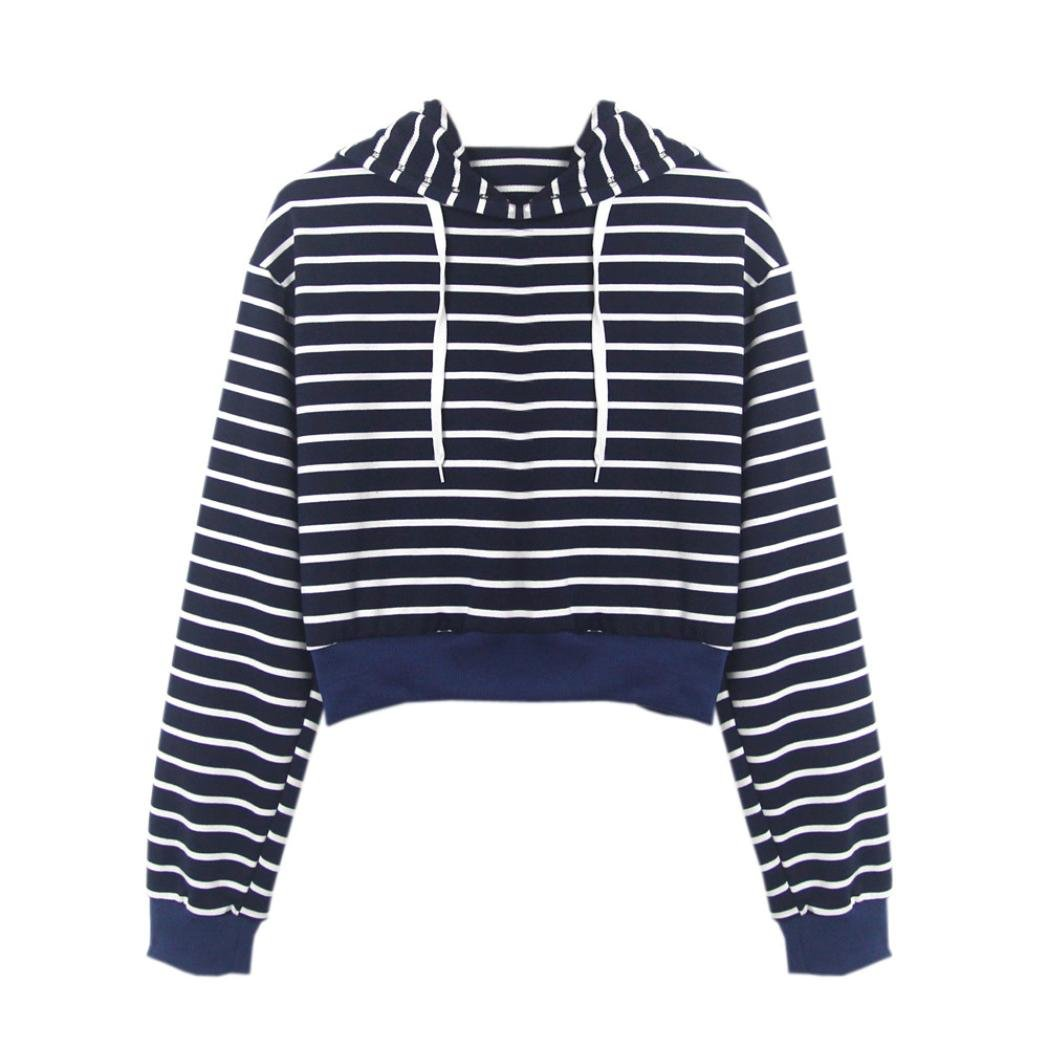 Spbamboo Fashion Womens Long Sleeve T-shirt Striped Hoodie Casual Tops Blouse
