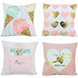 Pink Heart Decorative Throw Pillow Covers Gold Cushion Covers Square Outdoor Pillowcase for Home Car Sofa Décor…