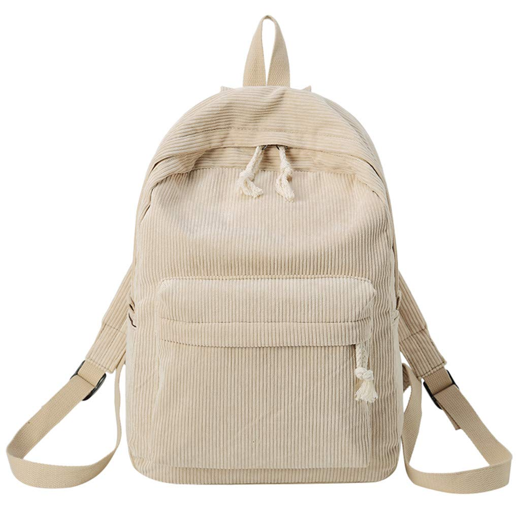 Women Velvet Corduroy Backpack Lady Pure Color Travel School Office Bag
