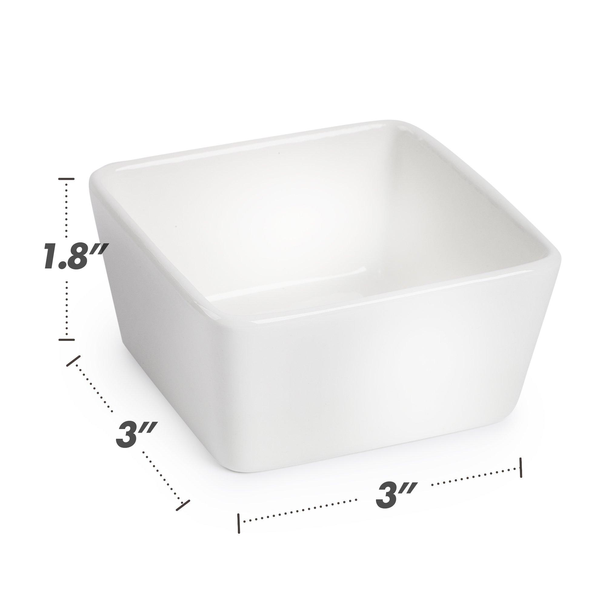 BTäT - Ramekins 8 oz - Set of 8 Square, Porcelain Ramekins, Ramekins for Baking, Creme Brulee Dish, Souffle Cups, Appetizer Cups, Custard Dish, Pudding cups, Ramiken Set, Dipping Bowl. by Brew To A Tea (Image #8)