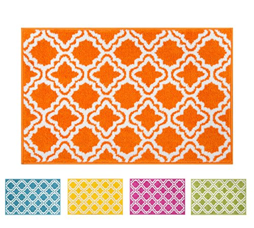 Small Rug Mat Doormat Well Woven Modern Kids Room Kitchen Rug Calipso Orange 1'8