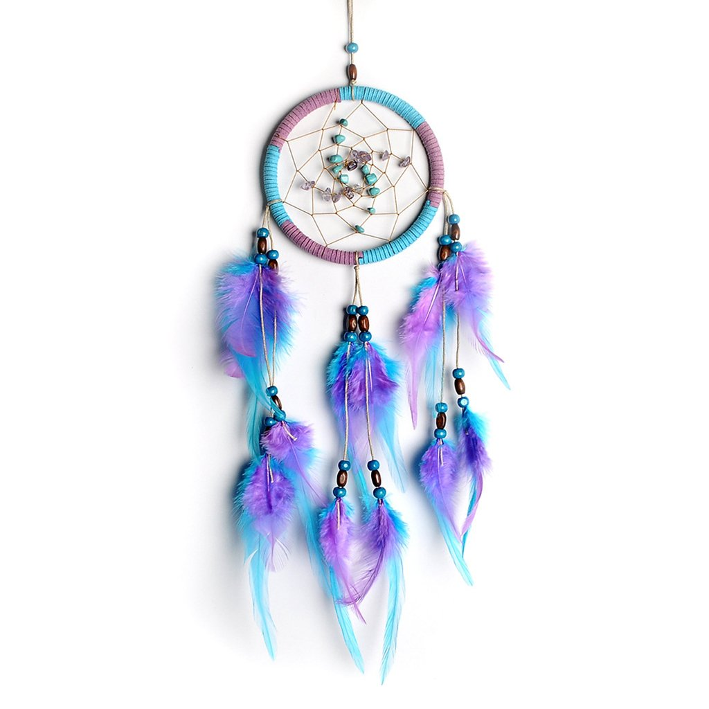 JAGENIE Handmade Dreamcatcher Feathers Wall Car Hanging Decor Turquoise Beads Ornament