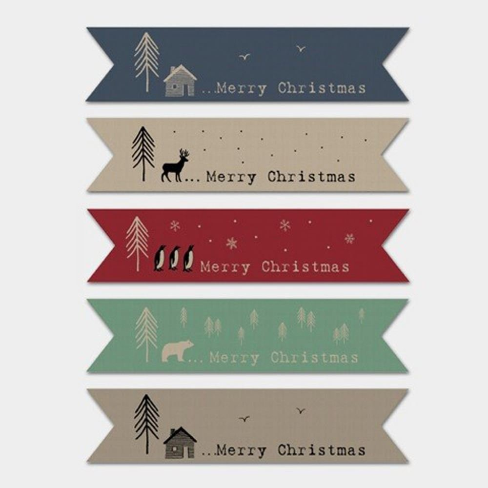 East of India BROWN KRAFT Ribbon Style Flag Christmas stickers Single of 22 Stickers Craft