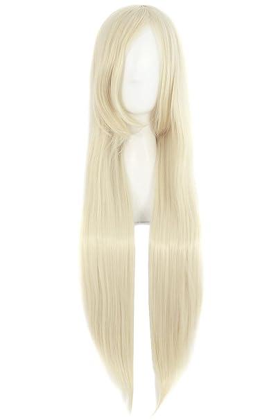 MapofBeauty 80cm/31 pulgada largo lacio seorita lacio anime traje Pelucas (blanco cremoso): Amazon.es: Belleza