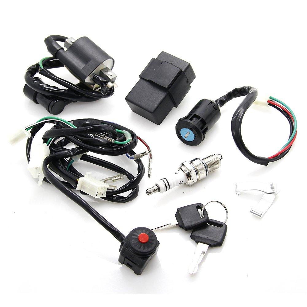 Wire Harness Wiring Loom Cdi Ignition Coil Spark Plug Rebuild Kit 50cc Atv For 70cc 90cc 110cc 125cc Stator Quad Bike Buggy Go Kart Gw