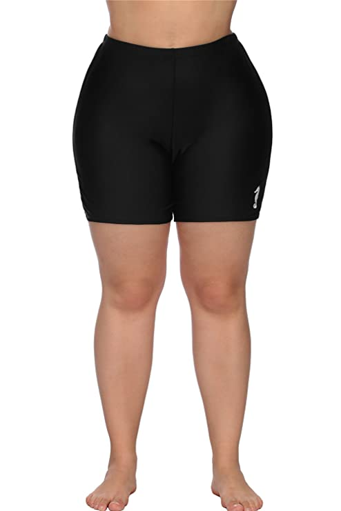 a252f2d4cf anfilia Women Plus Size Swim Shorts Boyleg Swimsuit Bottoms Ruched Board  Shorts