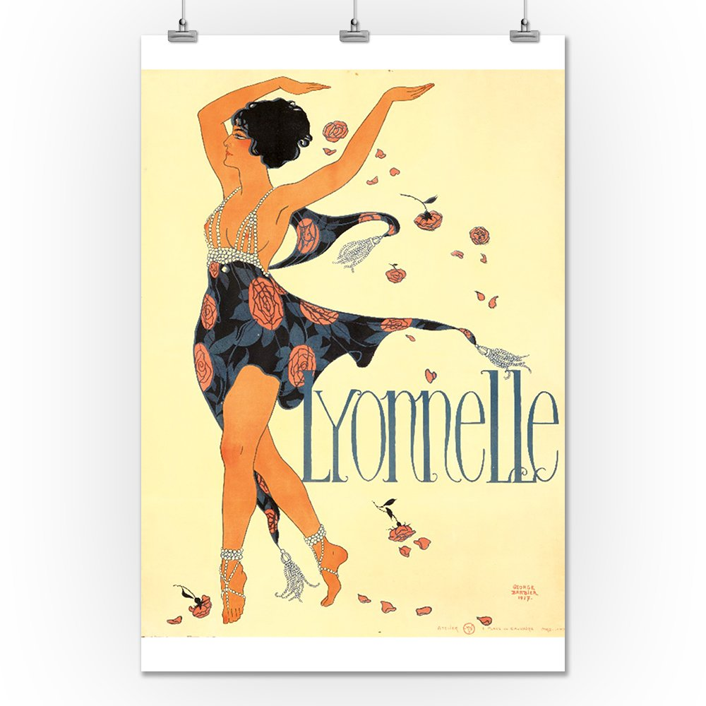 artist: Georges Barbier 1917 Lyonnelle Vintage Poster 36x54 Giclee Gallery Print, Wall Decor Travel Poster France c