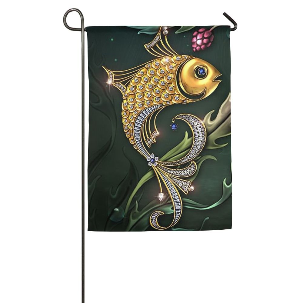 DFGTLY Fashion Personalized Garden Flag,Gold Glitter Fish Garden Flag-12'x18'/18'x27' Outdoor Decoration