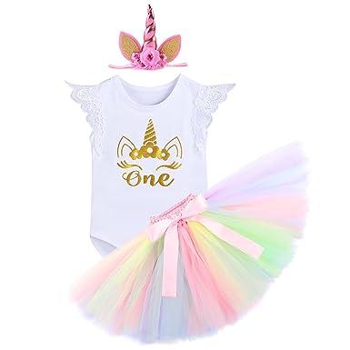 IWEMEK Bebé Niñas Primer Cumpleaños Princesa Unicornio Trajes de Fiesta 3pcs Conjunto de Mameluco + Falda de Tutú Colorida + Corona/Unicornio Diadema ...