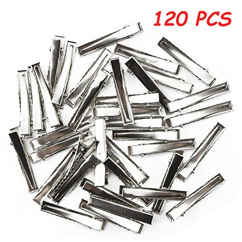 TKOnline 120pcs 1-3/4 Inch(45 mm) Silver Alligator Hair Clip Flat Top with Teeth Single Prong Metal Clips Hairbow Accessory for Arts Crafts Projects, Hair Care