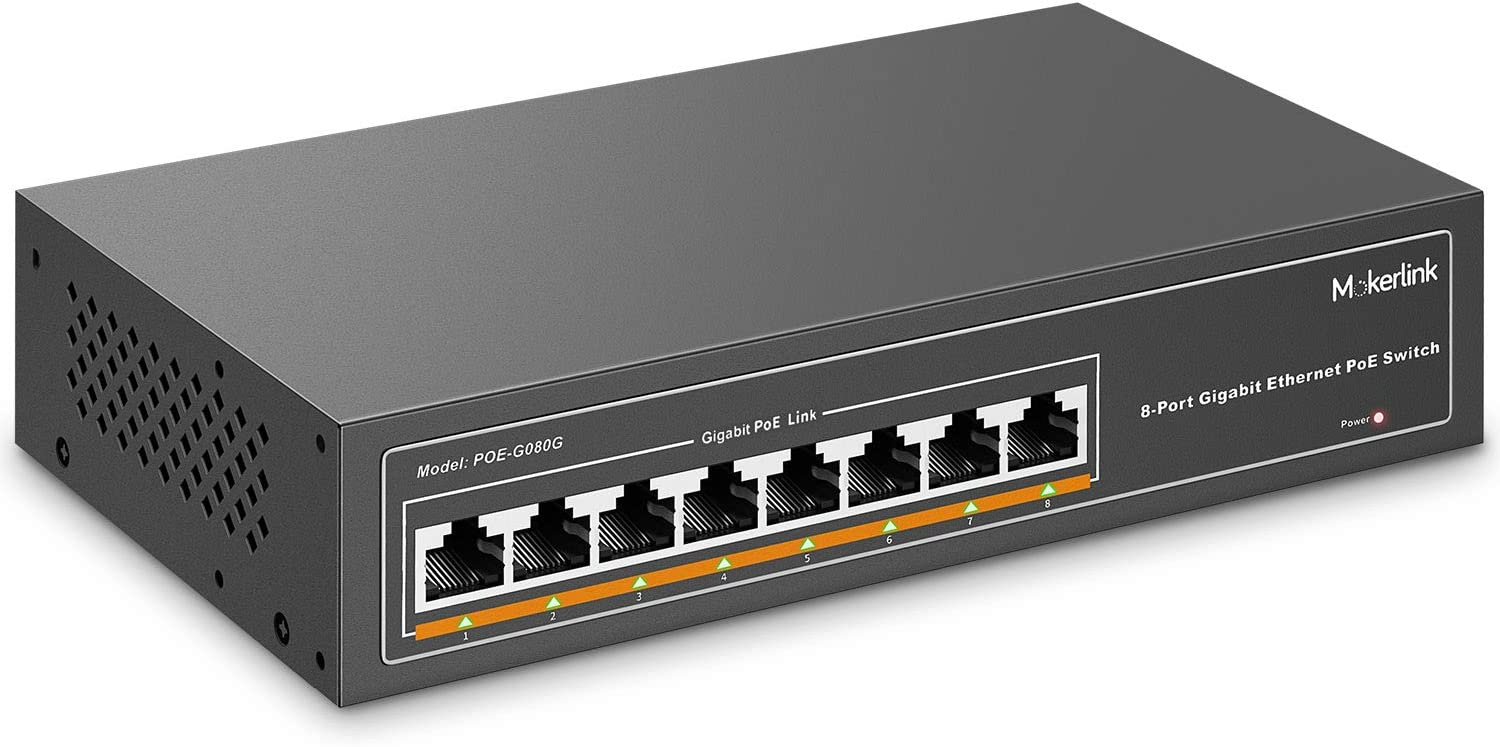 MokerLink 8 Port Gigabit PoE Switch, 8 PoE+ Ports 1000Mbps, 802.3af/at 120W, Metal Fanless Unmanaged Plug and Play