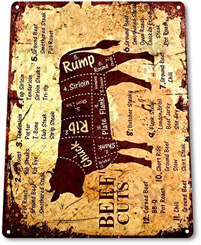 TIN SIGN A979 Beef Cuts Cow Cattle Kitchen Butcher Farm Ranch Rustic Metal Decor
