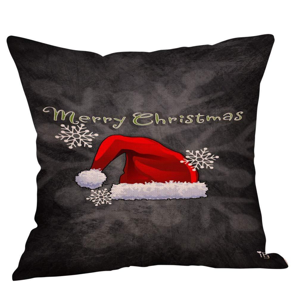 Mome ʕ •ᴥ•ʔ 2018 Christmas Pillowcase ʕ •ᴥ•ʔ 1PC Cotton Linen Christmas Decoration Zipper Closure Pillow Case Throw Cushion Cover Home Decor (G)