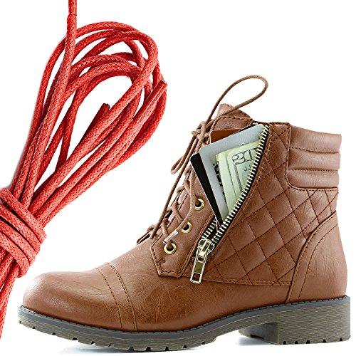 Dailyshoes Donna Militare Allacciatura Fibbia Stivali Da Combattimento Alla Caviglia Alta Tasca Esclusiva Per Carte Di Credito, Tan Rosso Pu