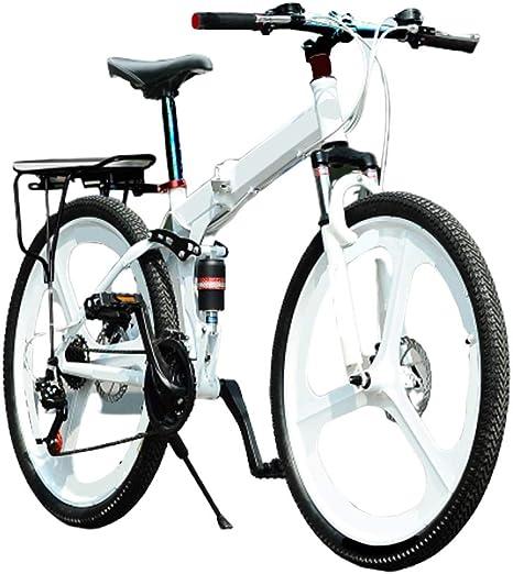 MH-LAMP Bicicleta Montaña, Bicicleta Plegable Adulto 24 Velocidades 26 Pulgadas, MTB Doble Suspension, Doble Freno Disco, Marco de Aluminio, Horquilla Bloqueable, Blanco: Amazon.es: Deportes y aire libre