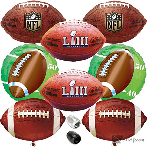 Super Bowl LIII 53 2019 Football Foil Mylar Balloons 10pc Ultimate Party Pack