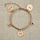 Set of 4 Grateful Heart- Gold Charm Bracelet
