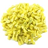 Yueton 100pcs Yellow 12/10-Gauge Economy Nylon Female Fully-Insulated Quick Disconnects Wiring Spade Wire Crimp Terminal