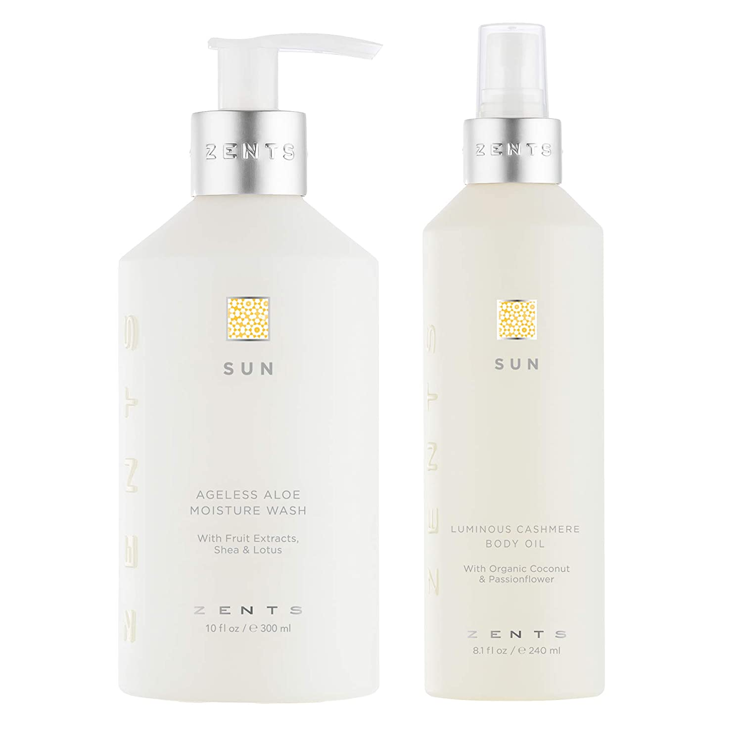 Zents Body Wash and Cashmere Oil Set, Ageless Aloe Moisture Body and Hand Wash, Soften and Moisturize Skin with Vitamin E and Organic Coconut Oil, Cleanse, Moisturize and Nourish Dry Skin