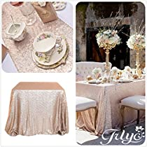 "Champagne Sequin Table Runner 12"" x 108"" Sequin TableCloth Wholesale Sequin Table Cloths Sequin Linens"