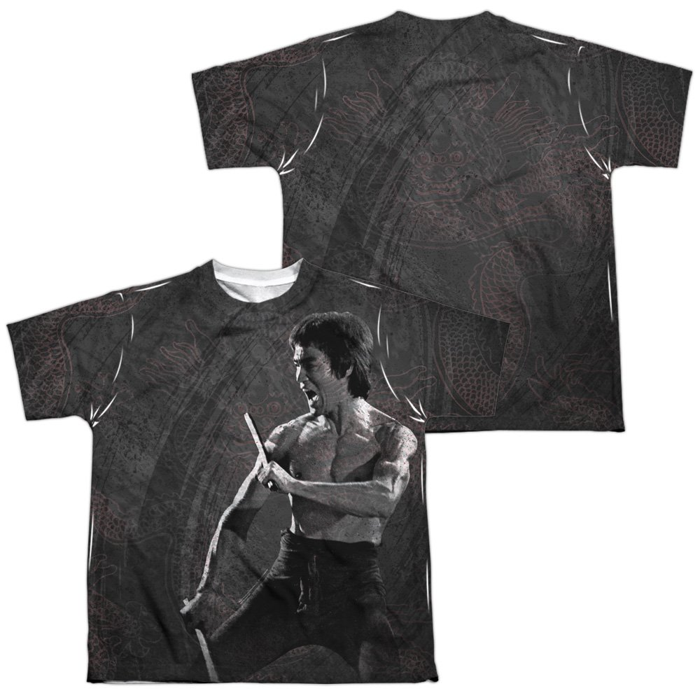 Bruce Lee Front//Back Youth Dragon Print All Over Print T-Shirt