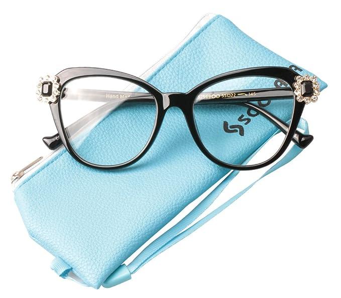 5d67279156e SOOLALA Womens Elegant Fashion Floral Cat Eye Eyeglass Large Reading Glass