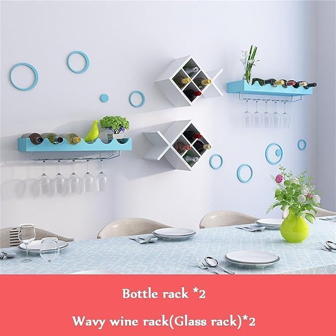 Botella de vino tipo pecera para montaje en pared 2 | Estante de vidrio | Soporte para estantes Unidad de almacenamiento para copa de vino 2 Estantes ...