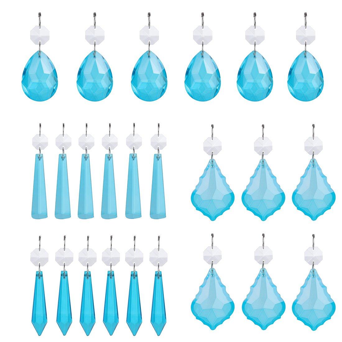 H&D 24pcs Sky Blue Crystal Beads Drop Pendants Chandelier Curtain Lamp Chain Prisms for Wedding Party Centerpieces Decoration
