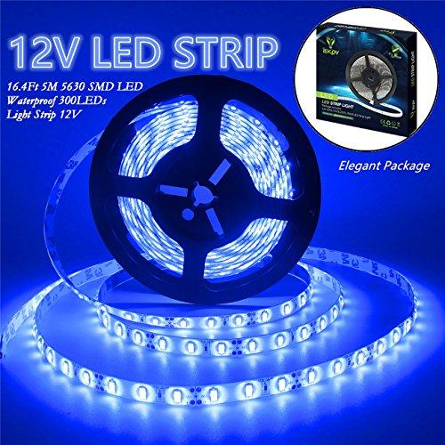 IEKOV Led Strip Lights, trade; 5630 SMD 300LEDs Waterproof Flexible Xmas Decorative Lighting Strips, LED Tape, 5M 16.4Ft DC12V (Blue)
