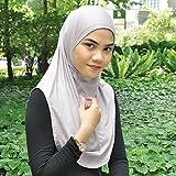 Silk Story One piece al amira Hijab Instant Head Scarf Cotton Lycra (Purplish Beige)