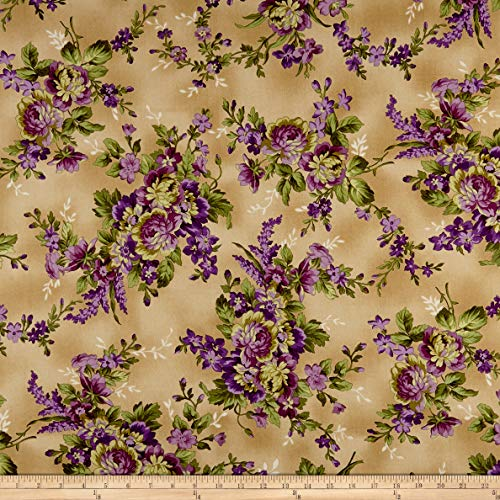 Maywood Studio Aubergine Elegant Floral Fabric, Antique, Fabric By The Yard
