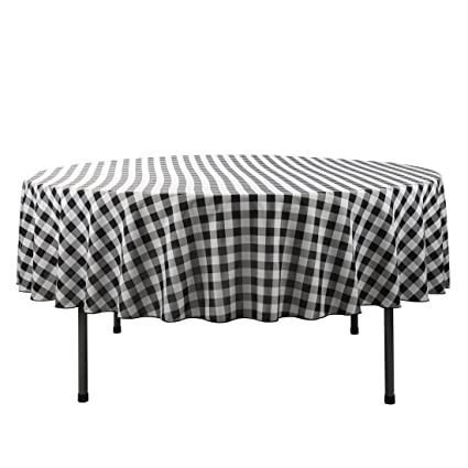 E TEX Round Tablecloth U2013 70 Inch U2013 Black U0026 White Checked Round Table Cloth