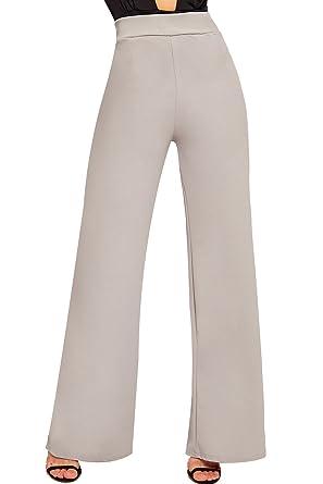 28eaa1d5c02 WearAll Women s Flared Wide Leg Plain Basic High Waist Pants Palazzo  Trousers - Light Grey -
