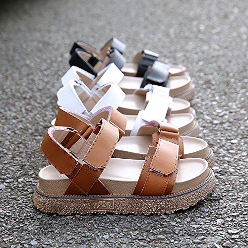 Plataforma Cabeza Roma Mujeres 7 Antideslizante Redonda Cómodo Primavera Otoño Plana Blanco Bluelover Sandalias Zapatos Blanco Cuero xzAqYwwd