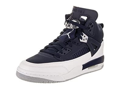6bb1e4b7471c87 Jordan Nike Kids Spizike BG Midnight Navy Metallic Silver Basketball Shoe 4  Kids US