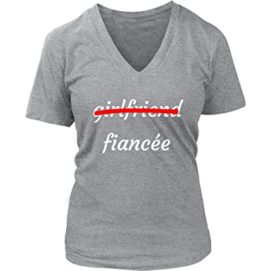 c87dbd58a Amazon.com: Girlfriend Fiancee T-Shirt   Funny Humor Cute Future Bride/Wife  Novelty Vintage Classic Fit Women V-Neck Gift Tee: Clothing