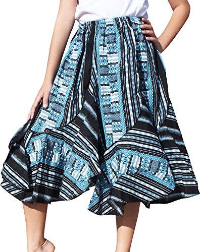Raan Pah Muang RaanPahMuang Girls Wild Flowing Dashiki Patch Skirt 3/4 Capri Length Elastic Waist, 8-10 Years, Dark Blue/Black by Raan Pah Muang