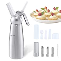 Werded Cream Whipper Dispenser - 0.5 Liter Professional Aluminum Whipped Cream Dispenser with 6 Stainless Steel Decorating Nozzles and Cleaning Brush, Uses Standard N20 Cartridges (Not Included)