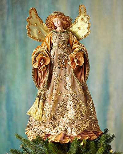 Golden Angel Christmas Tree Topper, GOLD by Katherine's Collection