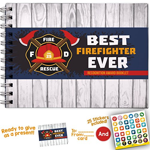 BEST FIREFIGHTER EVER - Recognition Award Personalizable Booklet with Matching Card Included! Appreciation Firefighter Gifts. (Firefighting Station Boots)