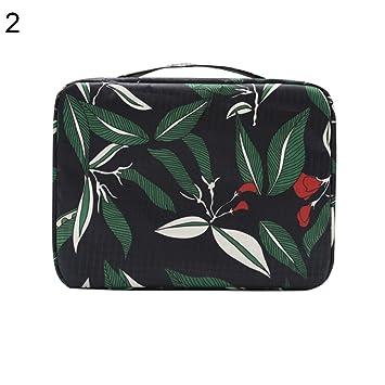 ZHOUBA - Estuche para maquillaje con diseño de hojas de flores ...