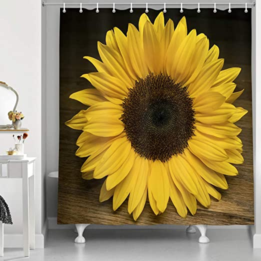71/'/'x71/'/' Sunshine Sunflower Bath Waterproof Polyester Shower Curtain Hook US