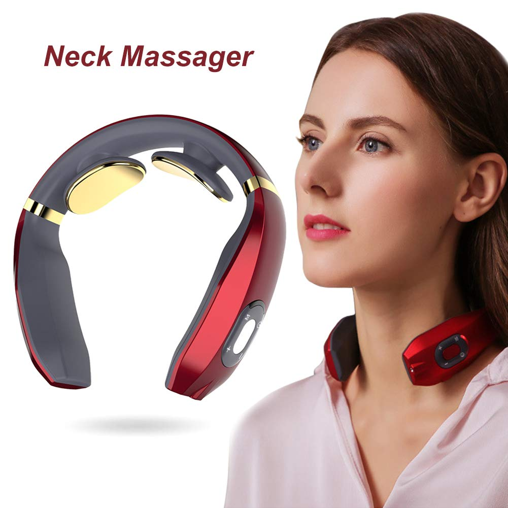 Neck Massager, Smart Neck Massager, Electric Pulse Neck Massager, Electric Neck Massager with Heating Function,Wireless 3D Travel Neck Massage Equipment