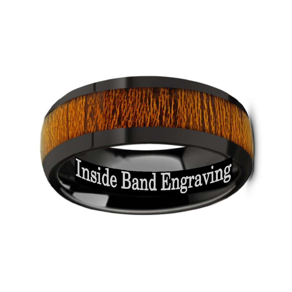 MABINI Black Ceramic with Rich Genuine Mahogany Wood Inlay Men's Domed Wedding Band with Polished Finish - 8mm from Thorsten by Roy Rose Jewelry by Thorsten (Image #3)