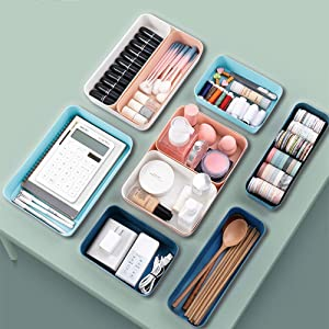 12PCS Stackable Drawer Organizer and Storage, Versatile Large Utensil Tray Drawer Organizers Bins for Clothes/Kitchen/Bathroom/Office/Makeup, Colorful Plastic Desk Vanity Drawer Inserts & Accessories